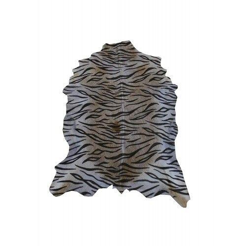 Tapis en peau de chèvre naturelle imprimé tigre 100x75 cm Zerimar - 1