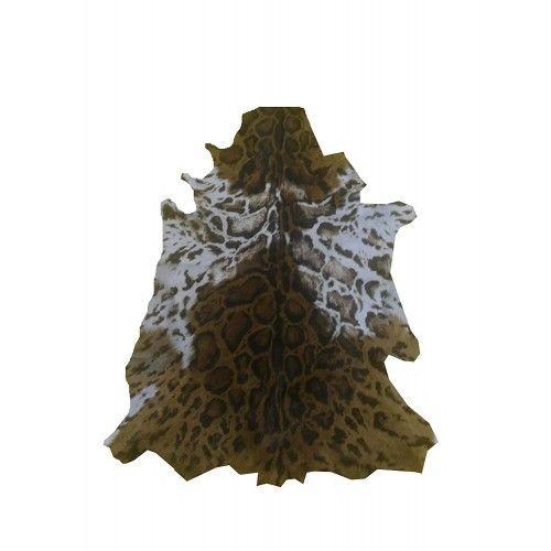 Tapis en peau de chèvre naturelle imprimé ocelot 100x75 cm Zerimar - 1