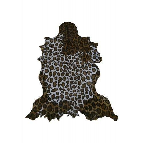 Tapis en peau de chèvre naturelle imprimé léopard 100x80 cm Zerimar - 1