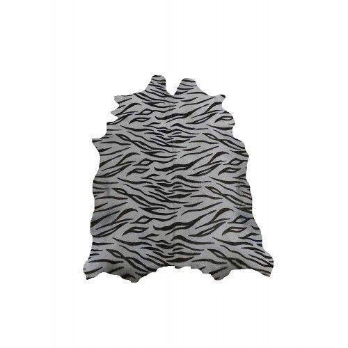Tapis peau de chèvre naturelle imprimé tigre 95x80 cm Zerimar - 1