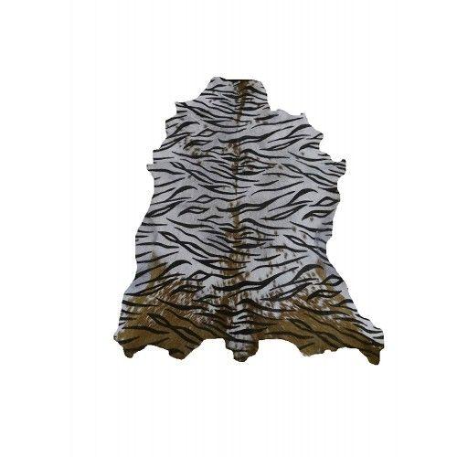 Tapis en peau de chèvre naturelle imprimé tigre 100x80 cm Zerimar - 1