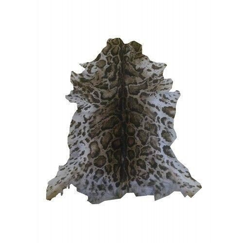 Tapis en peau de chèvre naturelle imprimé ocelot 100x85 cm Zerimar - 1
