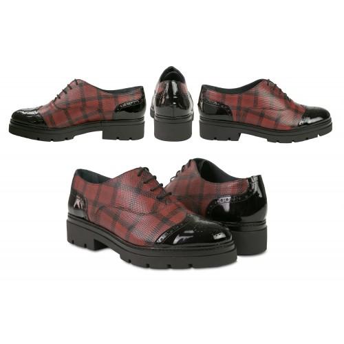Chaussures richelieu en cuir à carreaux noir et rouge Zerimar - 2
