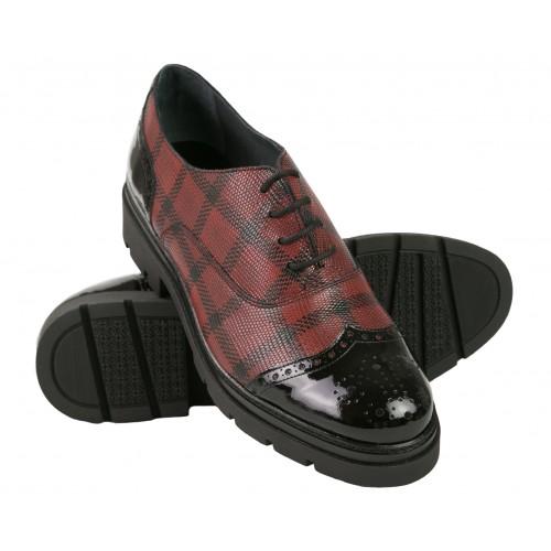 Chaussures richelieu en cuir à carreaux noir et rouge Zerimar - 1
