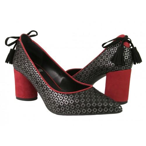 Chaussures en cuir à imprimé mosaïque avec talon Zerimar - 1