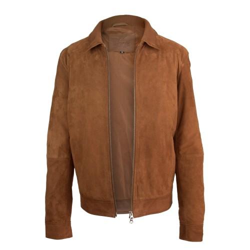 Veste en daim avec col classique, fermeture zippée et poches Zerimar - 2