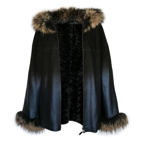 Veste en cuir réversible avec capuche et poignets en raton laveur Zerimar - 1