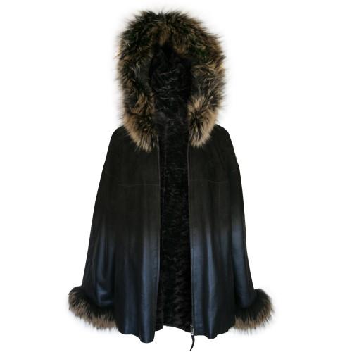 Veste en cuir réversible avec capuche et poignets en raton laveur Zerimar - 2