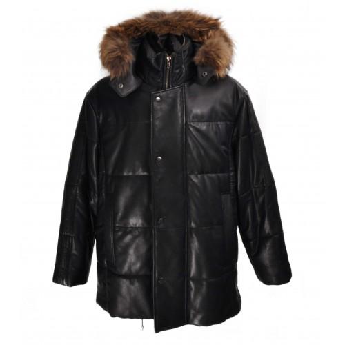 Veste en cuir matelassée pour homme avec capuche en fourrure Zerimar - 1