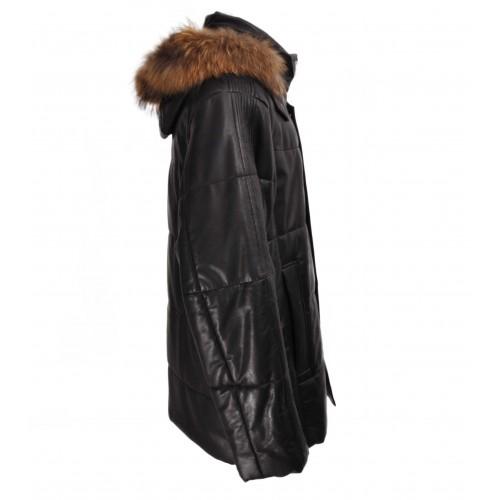 Veste en cuir matelassée pour homme avec capuche en fourrure Zerimar - 2