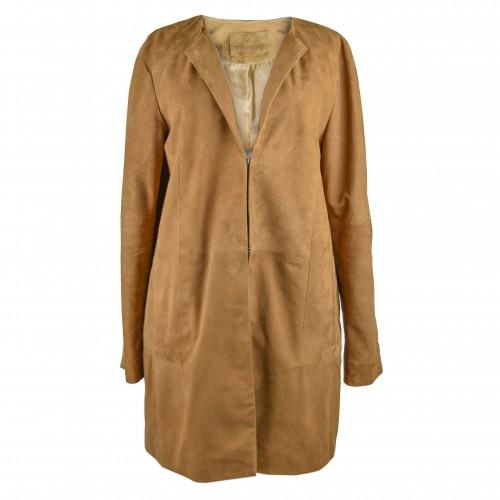 Manteau en daim pour femme avec col rond et attaches invisibles Zerimar - 1
