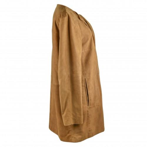 Manteau en daim pour femme avec col rond et attaches invisibles Zerimar - 2