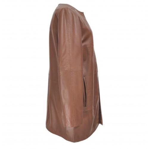 Manteau en cuir pour femme avec col rond et fermetures invisibles Zerimar - 2