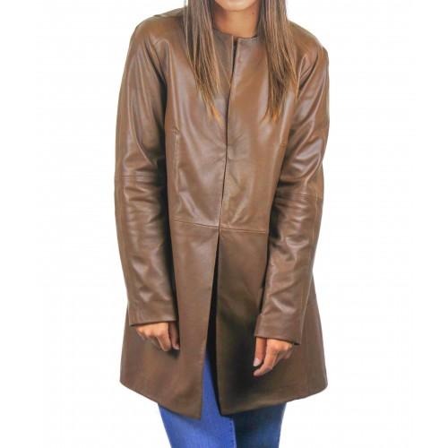 Manteau en cuir pour femme avec col rond et fermetures invisibles Zerimar - 1