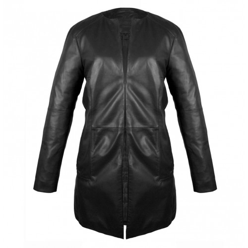 Manteau en cuir noir avec fermeture à crochet Zerimar - 1
