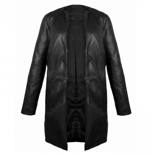Manteau en cuir noir avec fermeture à crochet Zerimar - 2
