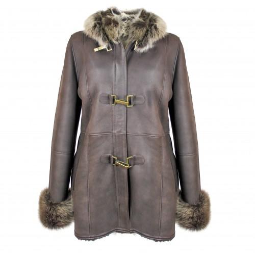 Manteau parka en cuir double face pour femme en marron Zerimar - 1