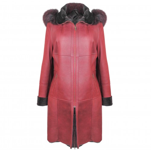 Manteau en cuir double face avec capuche couleur grenat Zerimar - 1