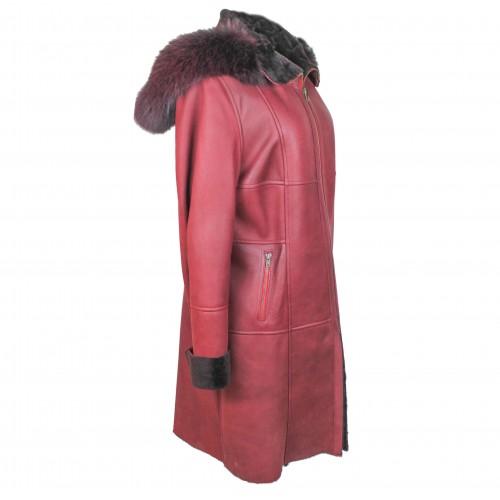 Manteau en cuir double face avec capuche couleur grenat Zerimar - 2