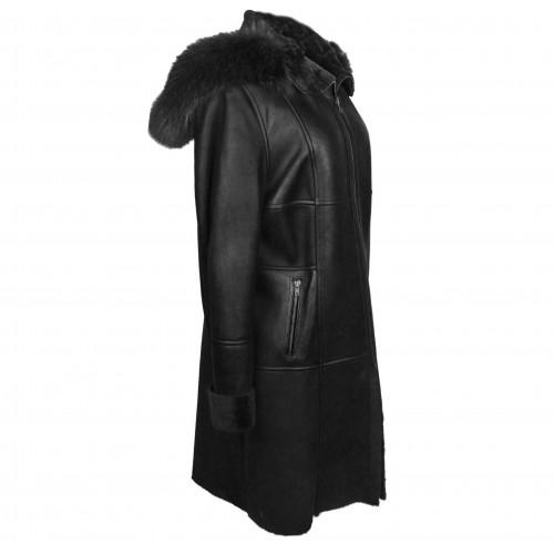 Manteau en cuir double face avec capuche couleur noir Zerimar - 2