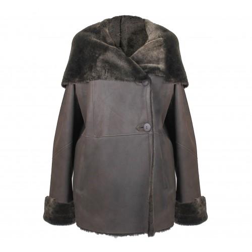 Manteau en cuir double face pour femme avec fermeture à boutons Zerimar - 1