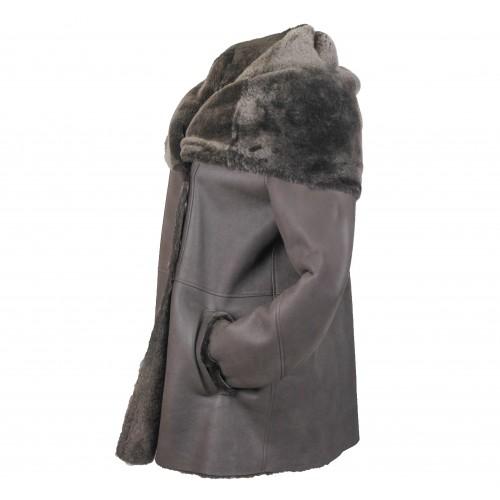 Manteau en cuir double face pour femme avec fermeture à boutons Zerimar - 2