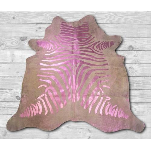 Tapis en peau de vache naturelle 215x215 cm imprimé zèbre Zerimar - 2