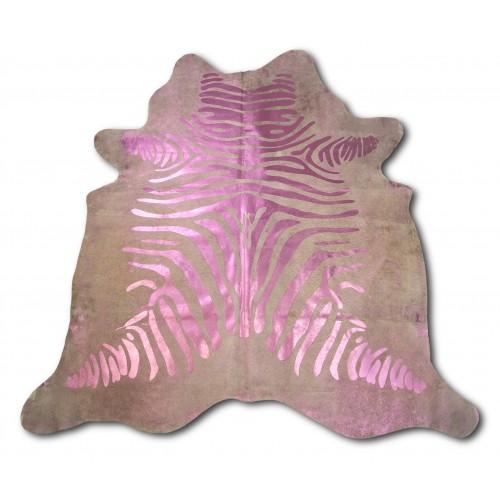 Tapis en peau de vache naturelle 215x215 cm imprimé zèbre Zerimar - 1