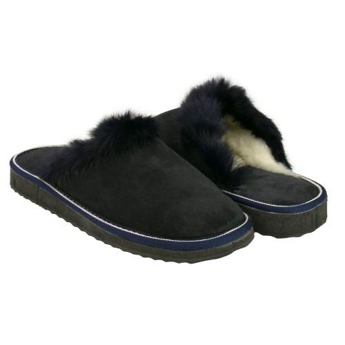 Pantoufles d'hiver en cuir...