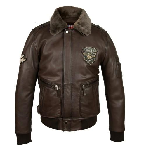Veste en cuir avec patchs style aviateur avec col amovible Zerimar - 2