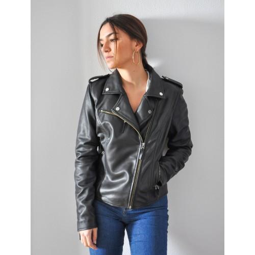 Veste ajustée noire style motard en cuir naturel avec fermeture à glissière Zerimar - 1