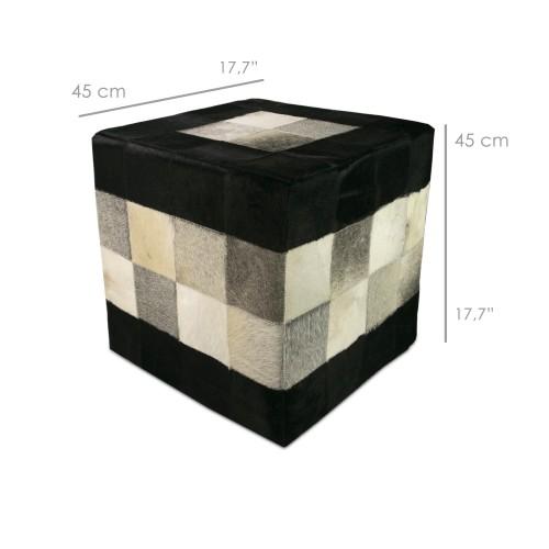 Tabouret pouf couvert de peau de vache 45x45x45 cm Zerimar - 2