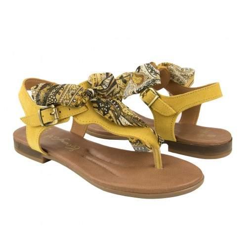 Sandales plates en cuir avec nœud modèle AGRA Zerimar - 1