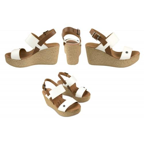 Sandales compensées en cuir modèle ALIZE Zerimar - 2